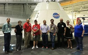 Taking time out to tour the Johnson Space Center in Houston, these eight high school teachers recently completed training in the SystemsGo rocketry program. From Left to Right: Pasadena Memorial HS; Melton, Katherine Dickinson HS; Malloy, Sara Pasadena Memorial HS; Jurek, Kyle South Houston HS; Herron, Kevin Roosevelt HS; Warsing, Jared Maypearl HS; Herrod, James Harleton HS; Brasher, Karen New Tech Odessa; Lindner, Richard